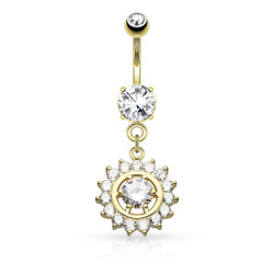 Claw Set CZ Around CZ Center Dangle 316L Surgical Steel Belly Button Navel Ring
