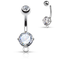 Round CZ Prong Set 316L Surgical Steel Belly Ring with O-Ring for Add on Dangles