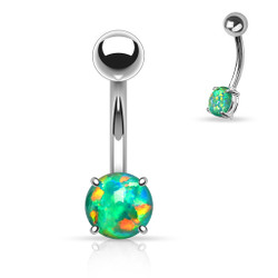 Basic Non Dangle Opal Prong Set 316L Surgical Steel Belly Navel Ring