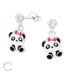 La Crystale Children's Silver Ear Studs with Hanging Panda and Genuine European Crystals