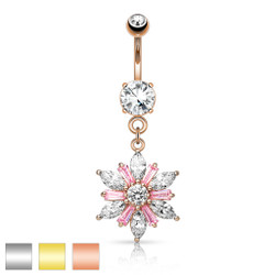 316L Surgical Steel Marquise Cut CZ Petals with Princess Cut Pink CZ Center Flower Dangle Navel Ring