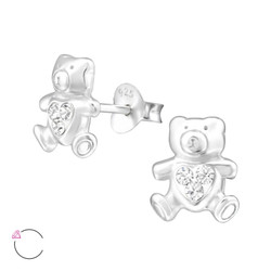 La Crystale Children's Silver Bear Ear Studs with Genuine European Crystals