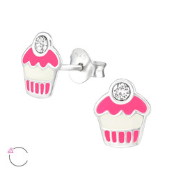 La Crystale Children's Silver Cupcake Ear Studs with Genuine European Crystals