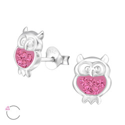 La Crystale Children's Silver Owl Ear Studs with Genuine European Crystals