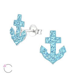 La Crystale Children's Silver Anchor Ear Studs with Genuine European Crystals