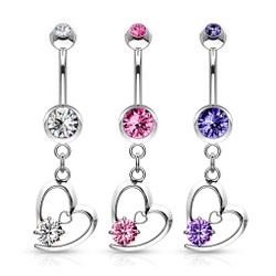 Hollow Heart with Prong CZ Dangle Navel Ring 316L Surgical Steel