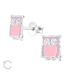 La Crystale Children's Silver Owl Ear Studs and Genuine European Crystals