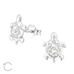La Crystale Children's Silver Turtle Ear Studs with Genuine European Crystals