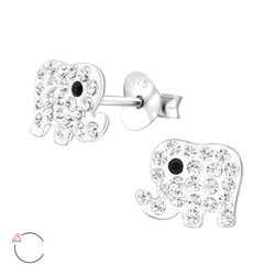 La Crystale Children's Silver Elephant Ear Studs with Genuine European Crystals