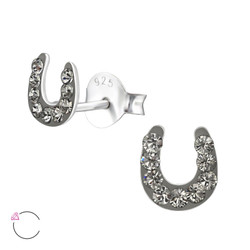La Crystale Children's Silver Horseshoe Ear Studs with Genuine European Crystals