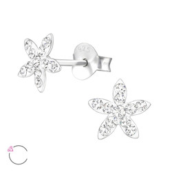 La Crystale Children's Silver Flower Ear Studs with Genuine European Crystals - EF21895