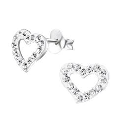 Children's Silver Heart Ear Studs with Crystal - EF21905