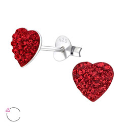 La Crystale Children's Silver Heart Ear Studs with Genuine European Crystals - EF1918