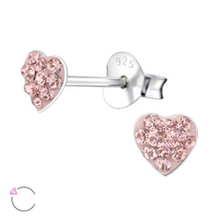 La Crystale Children's Silver Heart Ear Studs with Genuine European Crystals - EF21919