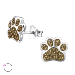 La Crystale Children's Silver Paw Print Ear Studs with Genuine European Crystals