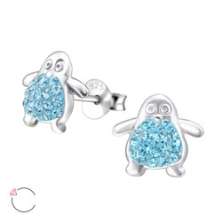 La Crystale Children's Silver Penguin Ear Studs with Genuine European Crystals