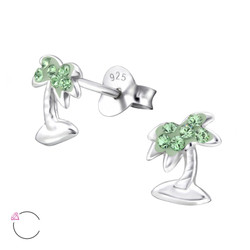 La Crstale Children's Silver Coconut Tree Ear Studs with Genuine European Crystals