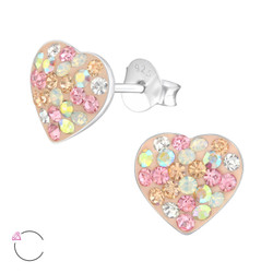 La Crystale Children's Silver Heart Ear Studs with Genuine European Crystals - EF21942