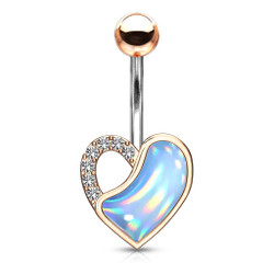Crystal Paved and IlluminatIng Stone Filled Heart 316L Surgical Steel Belly Button Navel Rings