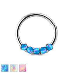 5 Opal Prong Set 316L Surgical Steel Bendable Septum & Cartilage Hoop Ring