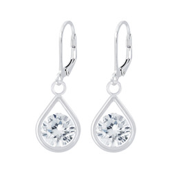 Children's Silver Tear Drop Lever Back Earrings