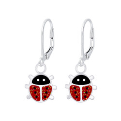 Children's Silver Ladybug Lever Back Earrings