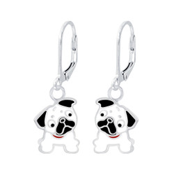 Children's Silver Bulldog Lever Back Earrings