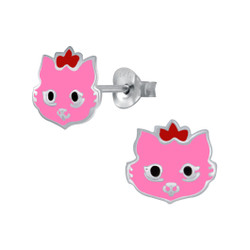 Children's Silver Cat Stud Earrings - SJ29136