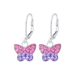 Children's Silver Butterfly Lever Back Earrings