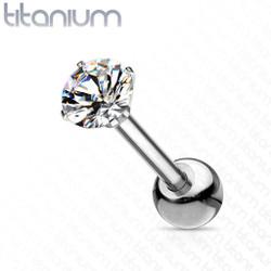 Implant Grade Titanium Cartilage, Tragus Barbell with Prong Set CZ