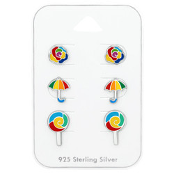 Silver Colorful Ear Studs Set on Card