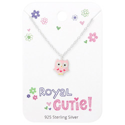 Silver Owl Necklace with Royal Cutie! Card