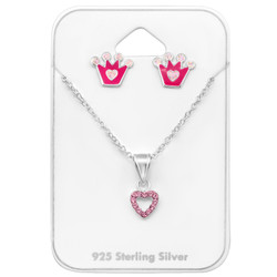 Silver Princess Set with Crystal on Card