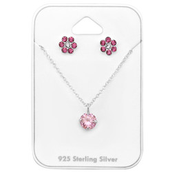 Silver Flower Set with Cubic Zirconia and Crystal on Card