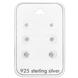 Silver Round 2mm, 3mm and 4mm Ear Studs Set with Cubic Zirconia on Card