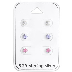 Silver Round 4mm Ear Studs Set with Cubic Zirconia on Card