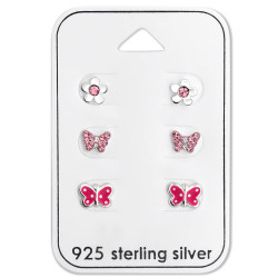 Silver Butterfly Ear Studs Set with Crystal on Card