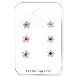 Silver Flower Ear Studs Set with Crystal on Card