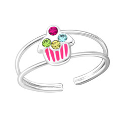 Children's Silver Cupcake Adjustable Ring with Crystal