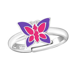Children's Silver Butterfly Adjustable Ring