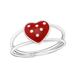 Children's Silver Heart Adjustable Ring - 20950