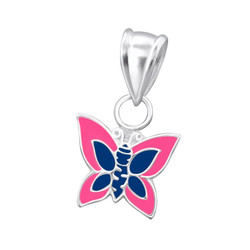 Children's Silver Butterfly Pendant Blue/Pink