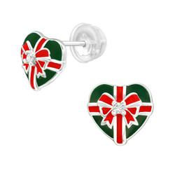 Premium Children's Silver Christmas Present Ear Studs with Cubic Zirconia