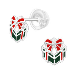 Premium Children's Silver Gift Present Ear Studs with Cubic Zirconia