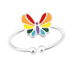 Children's Silver Butterfly Adjustable Ring - 21129