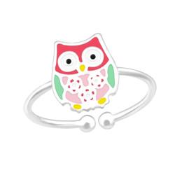 Children's Silver Owl Adjustable Ring