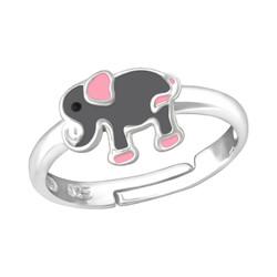 Children's Silver Elephant Adjustable Ring