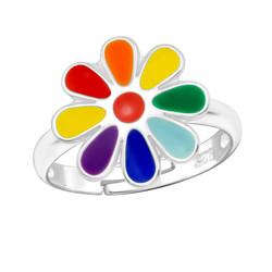 Children's Silver Flower Adjustable Ring