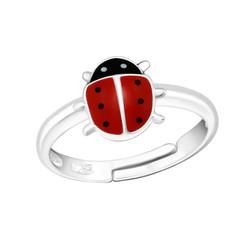 Children's Silver Ladybug Adjustable Ring
