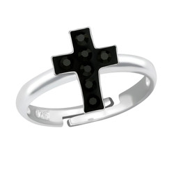 Children's Silver Cross Adjustable Ring with Crystal